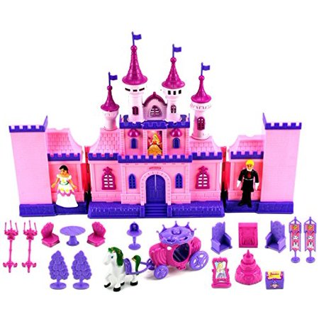 VT My Beautiful Castle 34 Toy Doll Playset w/ Lights, Sounds, Prince and Princess Figures, Horse Carriage, Castle Play House, Furniture, Accessories (Toys For Girls Age 7)