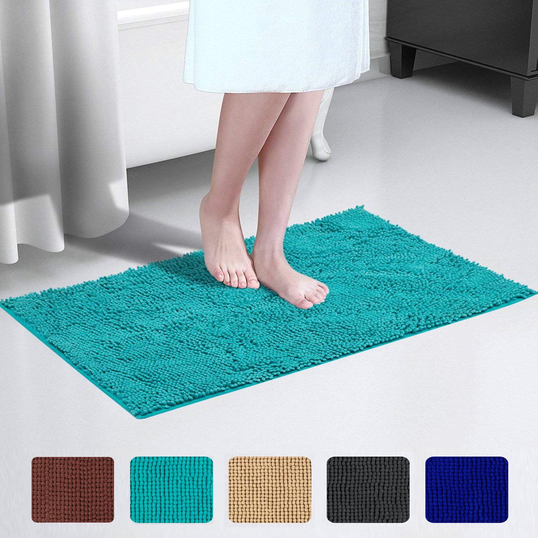 Chenille Bath Rugs Extra Soft /& Absorbent Microfiber Shag Rug Non Slip Runner Ca