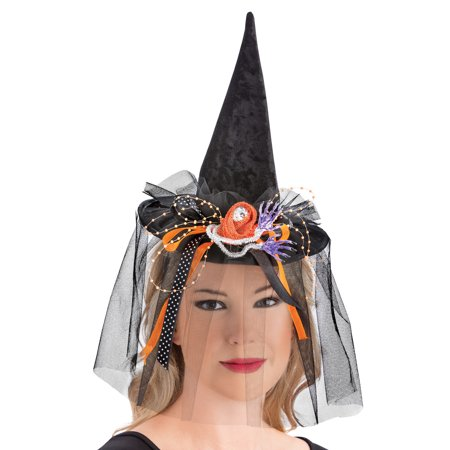 Witch Headband Hat And Glove Set, Easy Costume with Long Fingernails, 3 Pc, One Size, Black](Witches Glove)