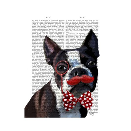 Boston Terrier Portrait with Red Bow Tie and Moustache Print Wall Art By Fab Funky
