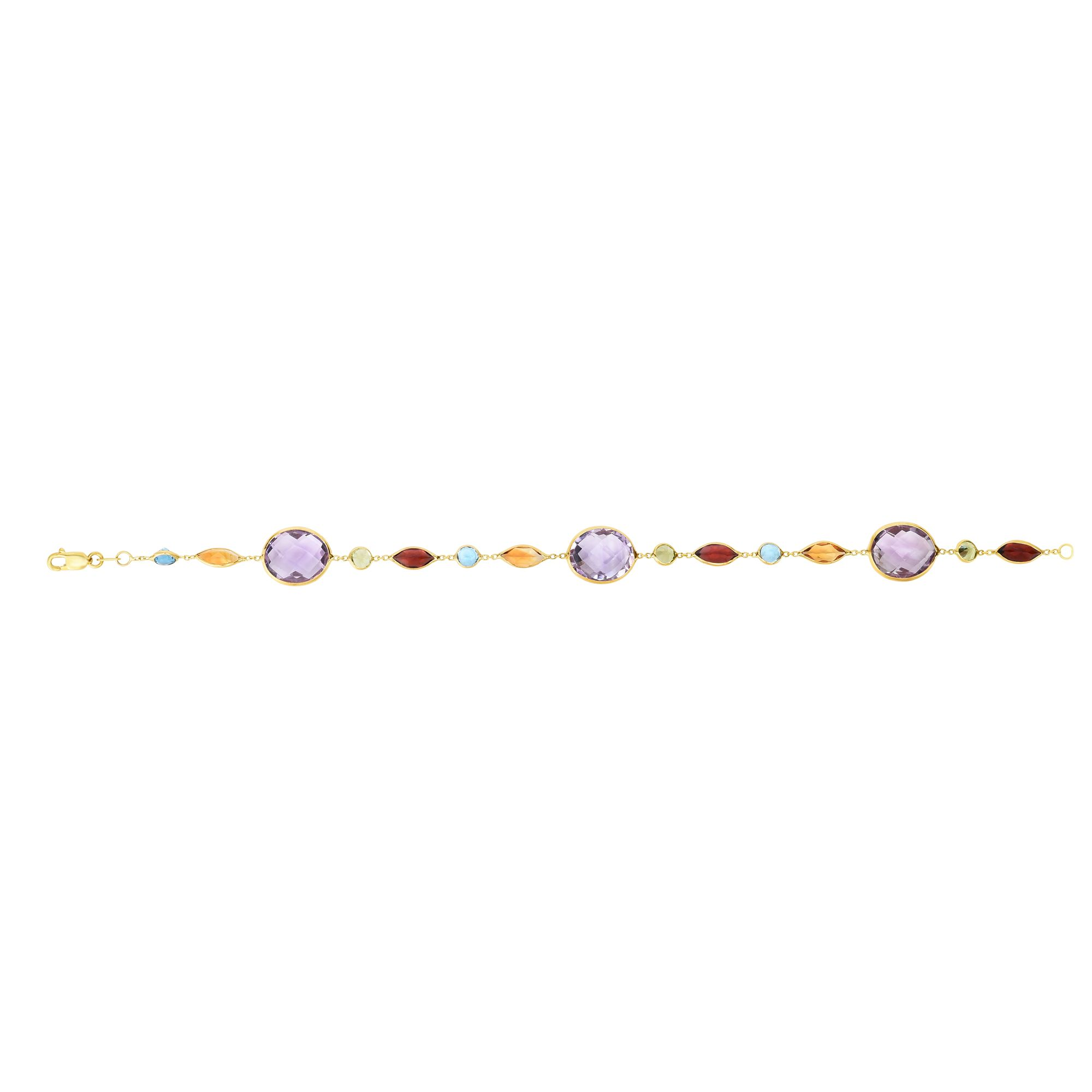 14K Yellow Gold 1mm Cable Bracelet with Alt. Round+Tear Drop Amethyst Stations with Lobster Clasp by Goldia