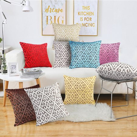 On Clearance 18''x18'' New Living Series Pillowcase Thicken Vel vet Sofa Soft Throw Pillow Case Cushion Cover Protector Office Home Craft Decoration For Indoor/Outdoor (Gold And Purple Throw Pillows)