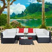 Garden Wicker Sectional Sofa Set with Cushion Patio Outdoor Furniture Dark Coffee & Cream White