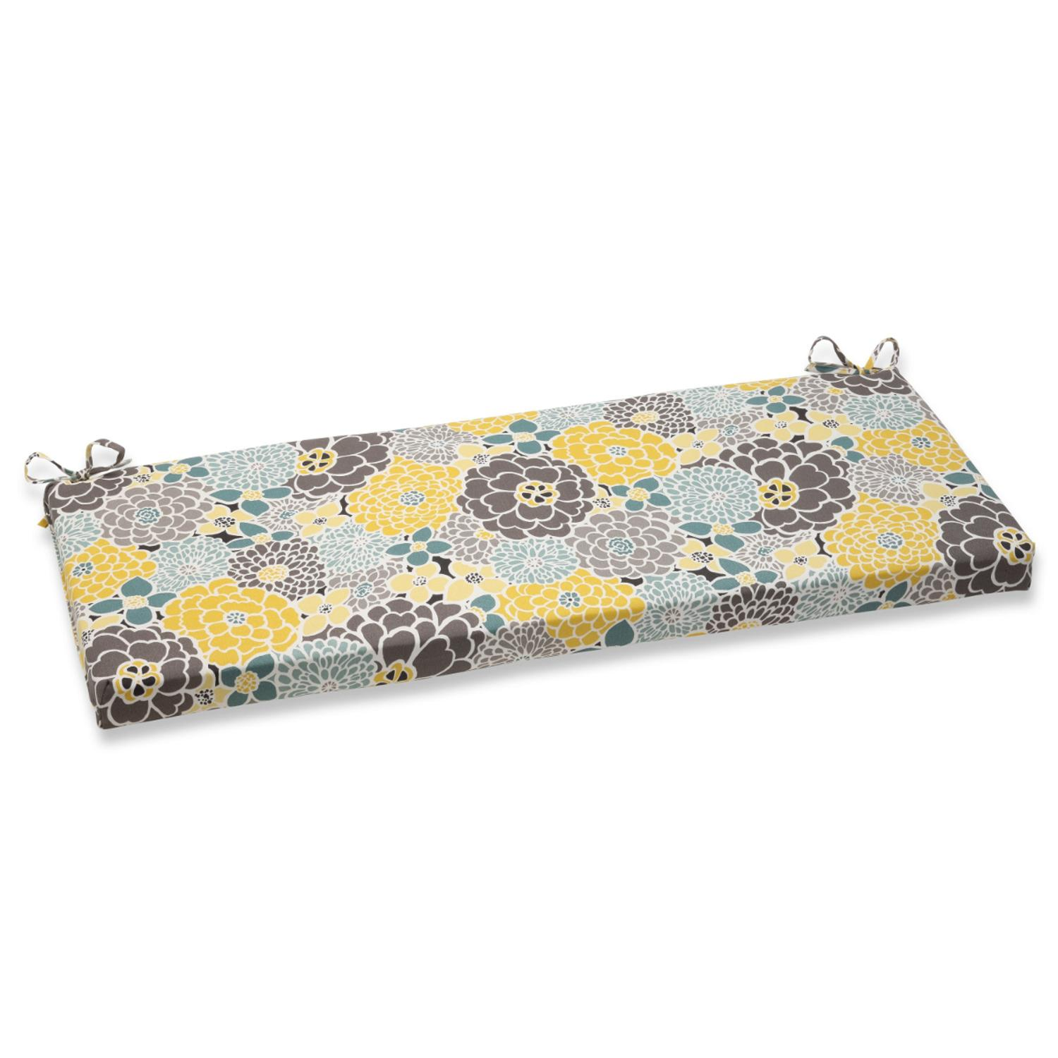 """45"""" Yellow, Blue and Gray Flor Grande Decorative Outdoor Patio Bench Cushion"""