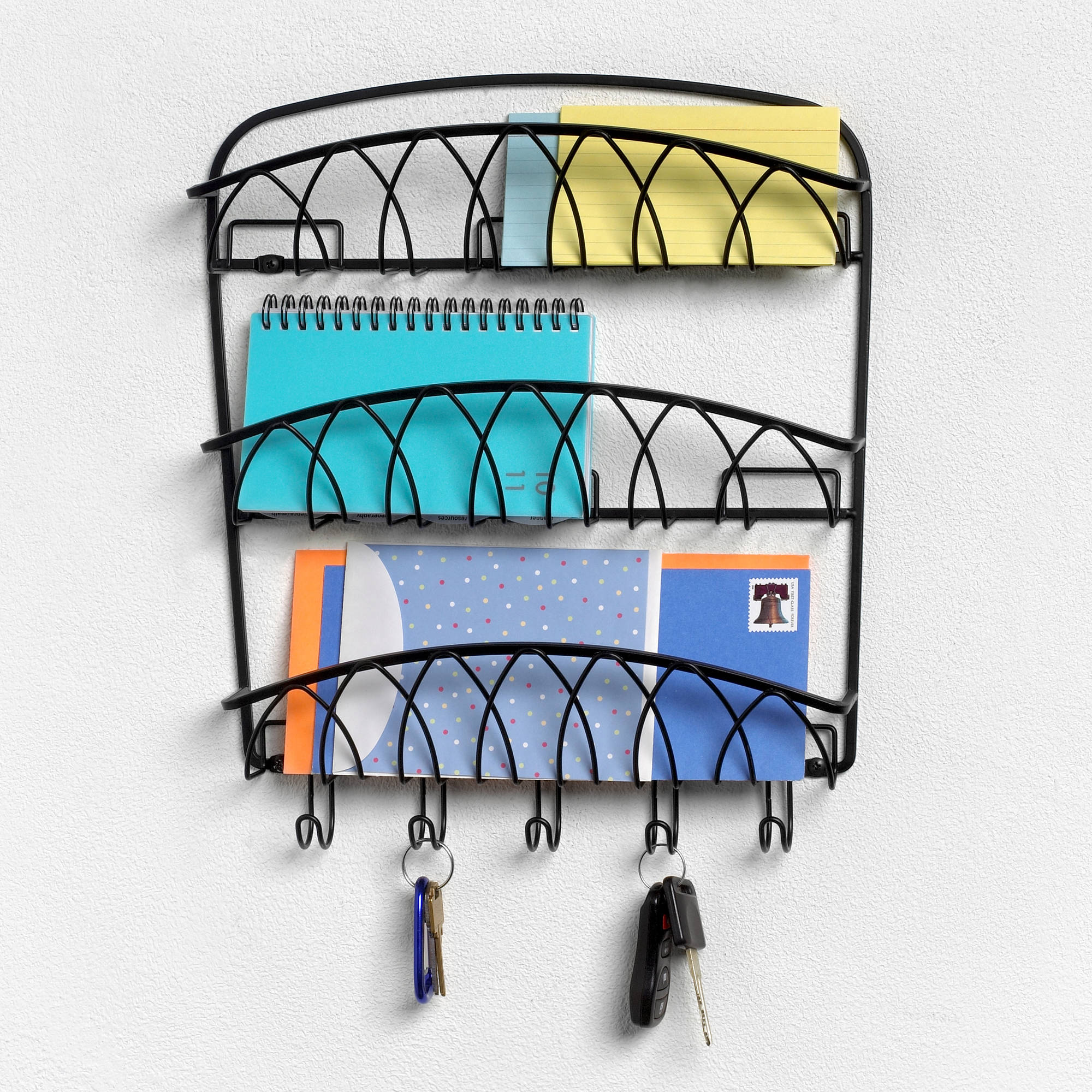 Spectrum 3-Tier Wall Mount Letter Holder, Black Twist