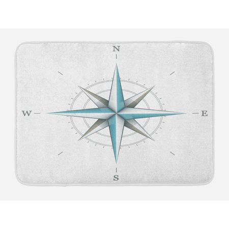 - Compass Bath Mat, Antique Wind Rose Diagram for Cardinal Directions Axis of Earth Illustration, Non-Slip Plush Mat Bathroom Kitchen Laundry Room Decor, 29.5 X 17.5 Inches, Blue Grey White, Ambesonne