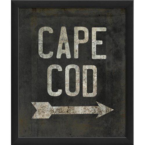 The Artwork Factory Cape Cod Beach Sign Framed Textual Art by Blueprint Artwork