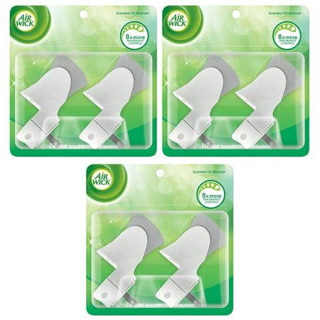 (3 pack) Air Wick Scented Oil Warmer Plugin Air Freshener, White, 6