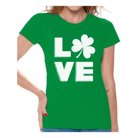 Ireland Irish Kilt (Awkward Styles Love Shamrock Shirt Womens St Patricks Day Shirts Gifts for Irish St Patricks Gift for Her Proud Irish Women Shirt Irish Shamrock Tshirt Irish Pride Womens Irish Shirt St Patrick Tshirt)