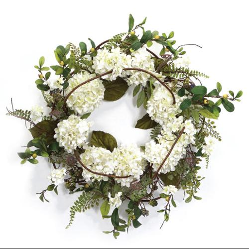 White and Green Hydrangea Floral Artificial Wreath - 22-Inch, Unlit