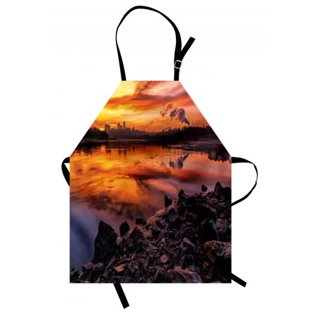 Landscape Apron Usa Missouri Kansas City Scenery of a Sunset Lake Nature Camping Themed Art Photo, Unisex Kitchen Bib Apron with Adjustable Neck for Cooking Baking Gardening, Multicolor, by Ambesonne