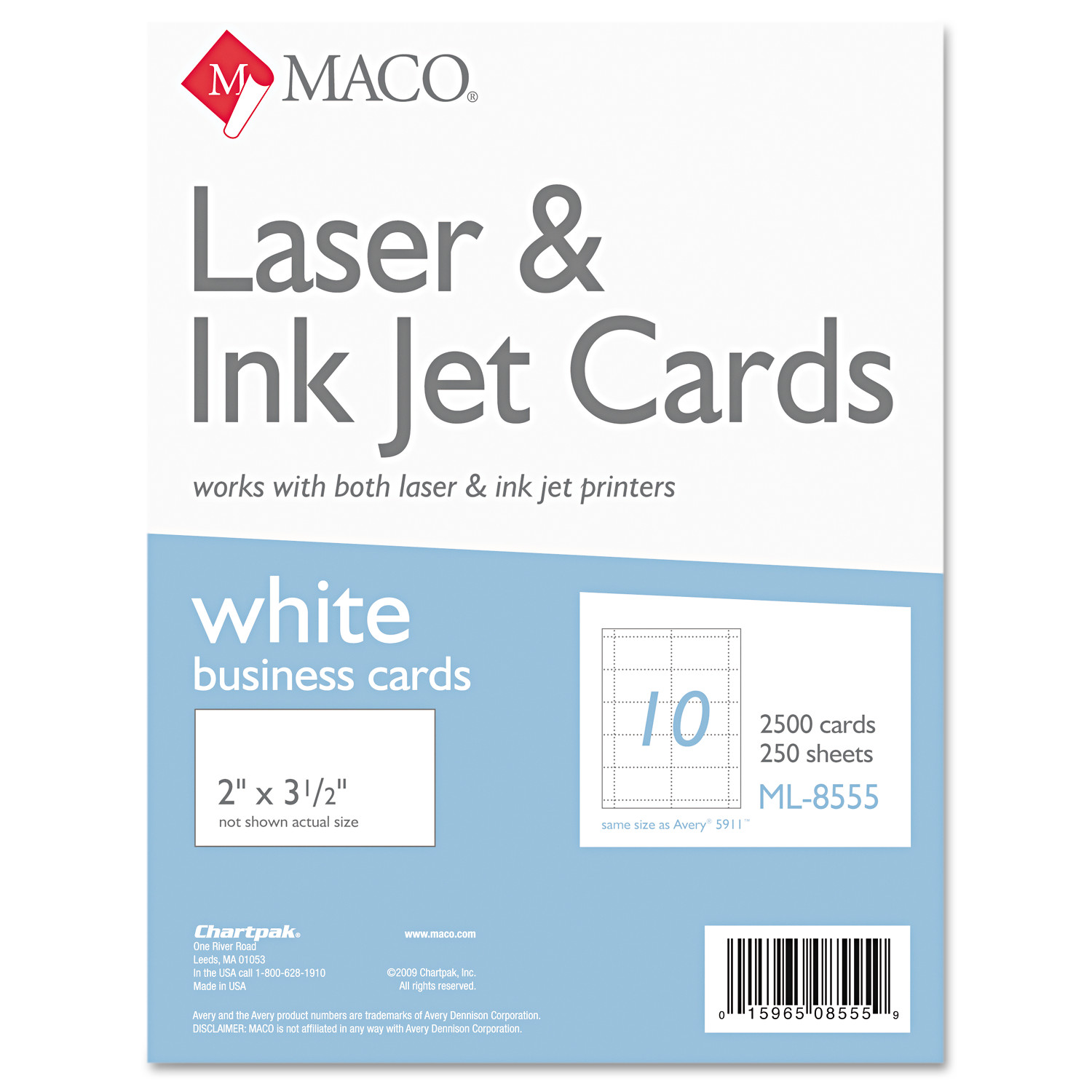 MACO Microperforated Business Cards, 2 x 3 1/2, White, 2500/Box