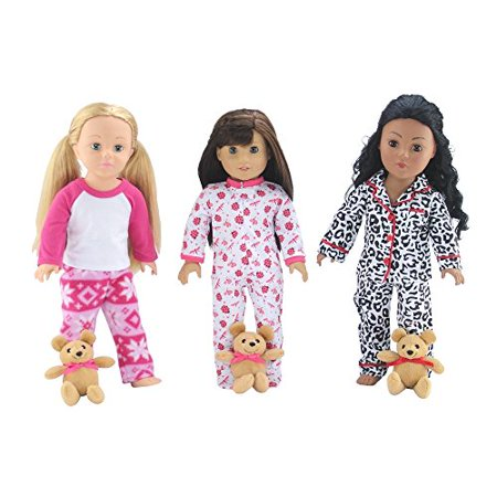 18 Inch Doll Clothes   Value Bundle   Set Of 3 Doll Pajamas  Each With Teddy Bear  Including  Onesie  Lady Bug Pjs  2 Piece Snowflake Pjs And 2 Piece Animal Print Pjs   Fits American Girl Dolls
