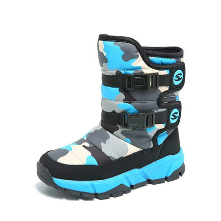 Boys Snow Boots Winter Waterproof Slip Resistant Cold Weather Shoes (Toddler/Little Kid/Big