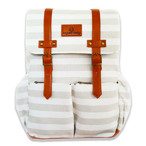 Kaydee Baby Unisex Canvas Diaper Tote Backpack Bag with Stroller Straps and Changing Pad - For Men and Women (White and Grey Stripe)