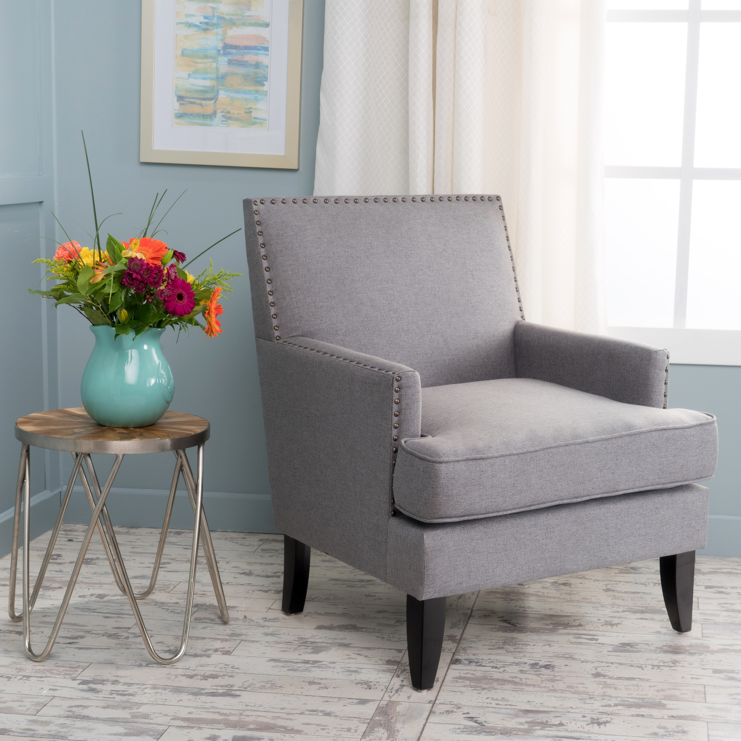 Noble House Tabitha Modern Contemporary Fabric Studded Accent Chair, Grey