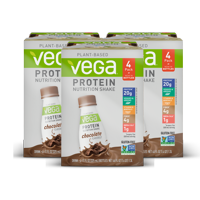 Vega Vegan Protein Nutrition Shake, Chocolate, 20g Protein, 11 Fl Oz, 12 Ct