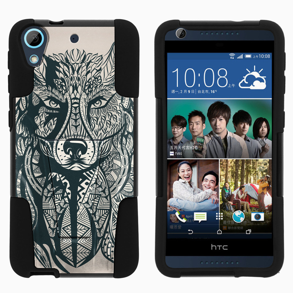 HTC Desire 626 STRIKE IMPACT Dual Layered Shock Resistant Case with Built-In Kickstand by Miniturtle® - Wolf Drawing