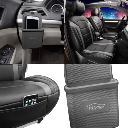 FH Group, Faux Leather Seat Covers Cushion Pad Front Bucket Gray w/Phone Holder