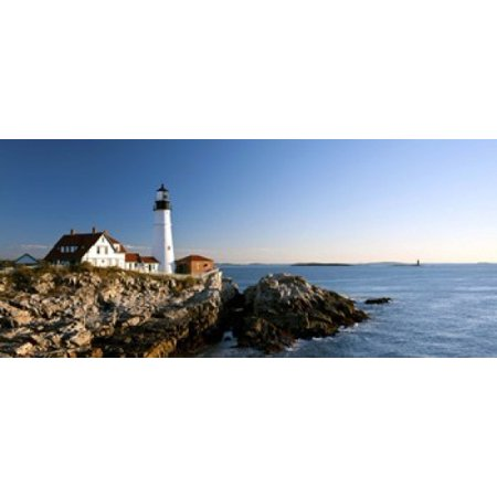 Ram Lighting Island Light (Lighthouse on the coast Portland Head Lighthouse Ram Island Ledge Light Portland Cumberland County Maine USA Stretched Canvas - Panoramic Images (15 x 7))