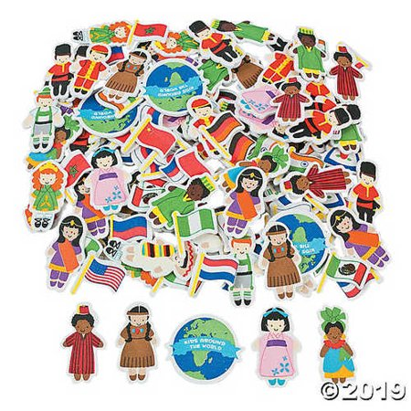 Adhesive Shapes (500 Kids Around the World Adhesive Foam Shapes Multicultural Stickers)