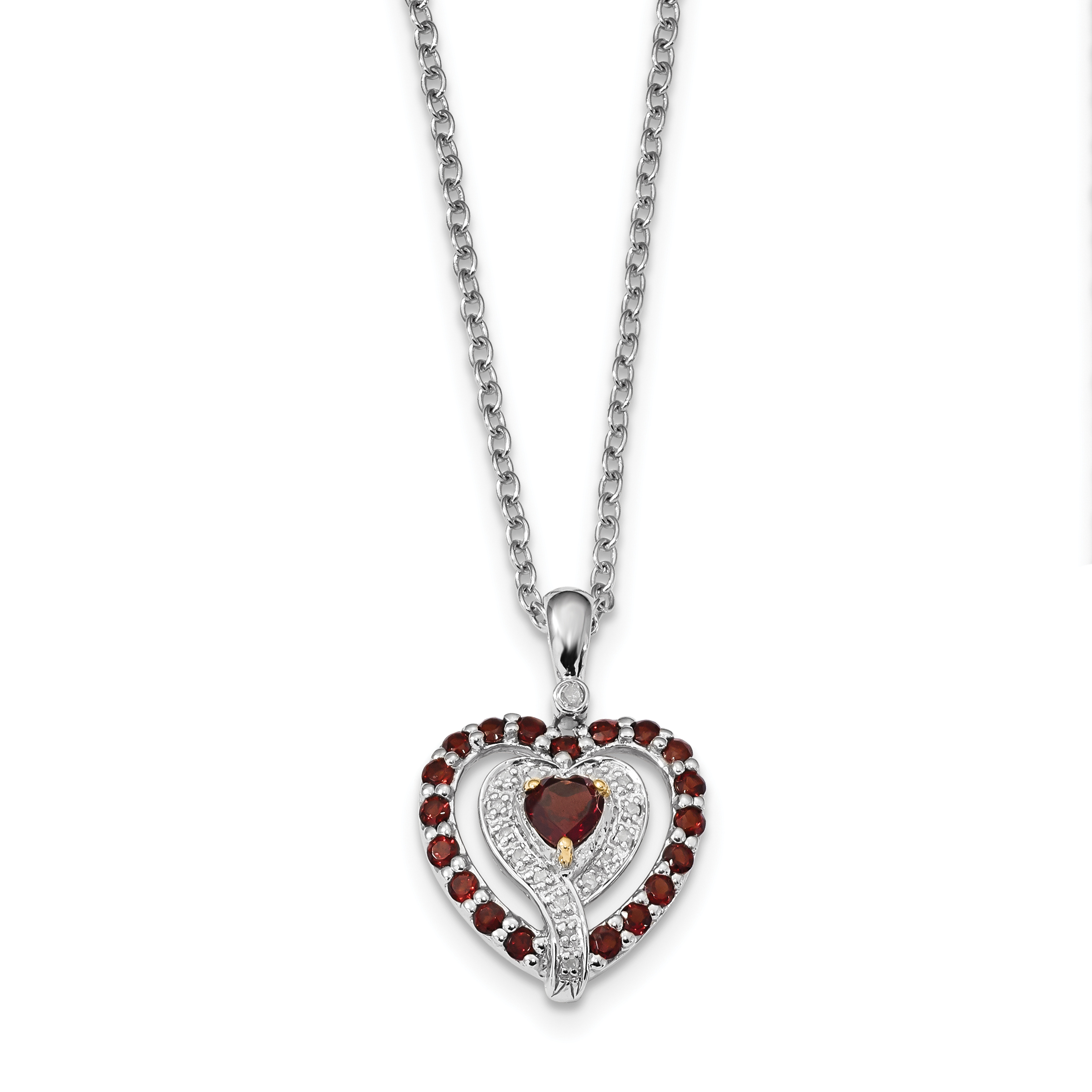 Sterling Silver & 14K Garnet & Diamond Necklace by Saris and Things QG