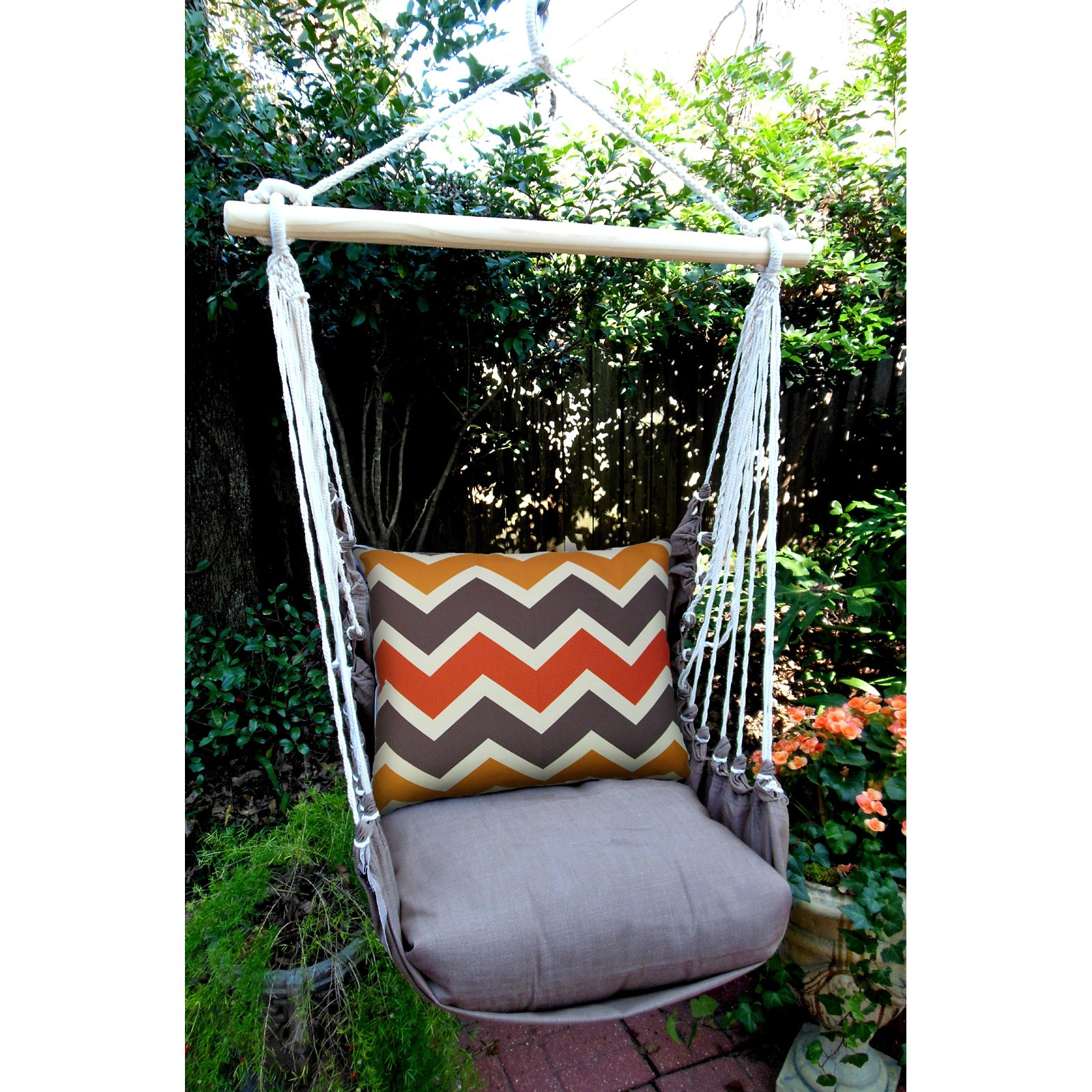 Magnolia Casual Retro Chevron Hammock Chair & Pillow Set