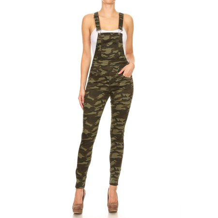 Women's Juniors Stretch Camouflage 3 Button Adjustable Straps (Camo Overalls)