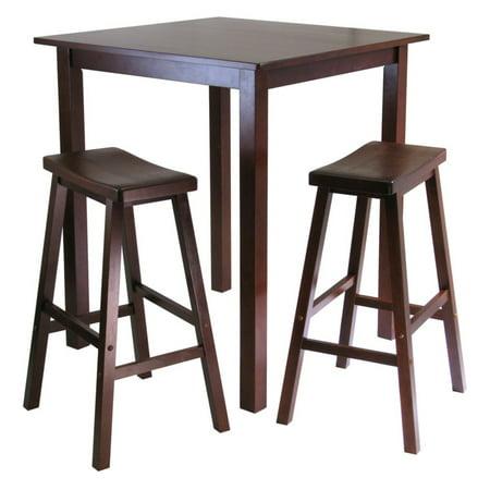 Square Three Seat Table - Parkland 3-Pc Square High/Pub Table Set with 2 Saddle Seat Stools