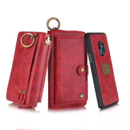 Galaxy S9 Plus Wallet Case, Allytech Girls Women Magnets Detachable Zipper Wallet Case Cover PU Leather Folio Flip Holster Carrying Case Card Holder for Samsung Galaxy S9 Plus, Red - Cave Women