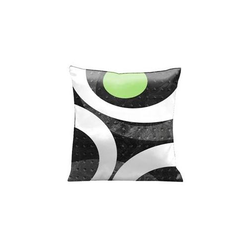 Lama Kasso 1451 Get the Loft Look with Metallic Grays and a splash of Green 18 in. Square Satin Pillow