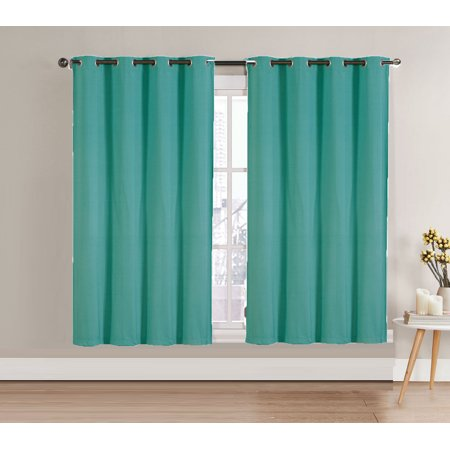 "Single (1) Blackout Window Curtain Panel: Turquoise, Silver Metal Grommets, 52""W x 63""L"