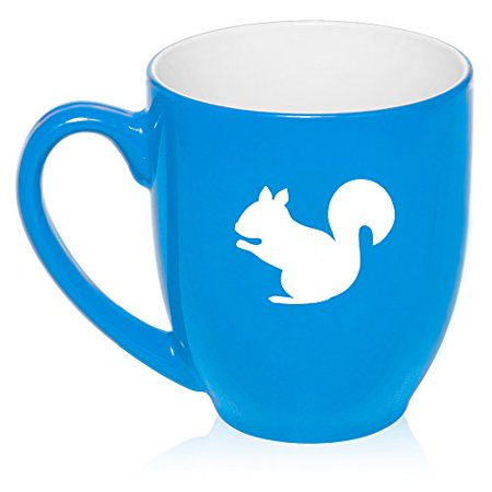 Glass Squirrel (16 oz Large Bistro Mug Ceramic Coffee Tea Glass Cup Squirrel (Light Blue) )