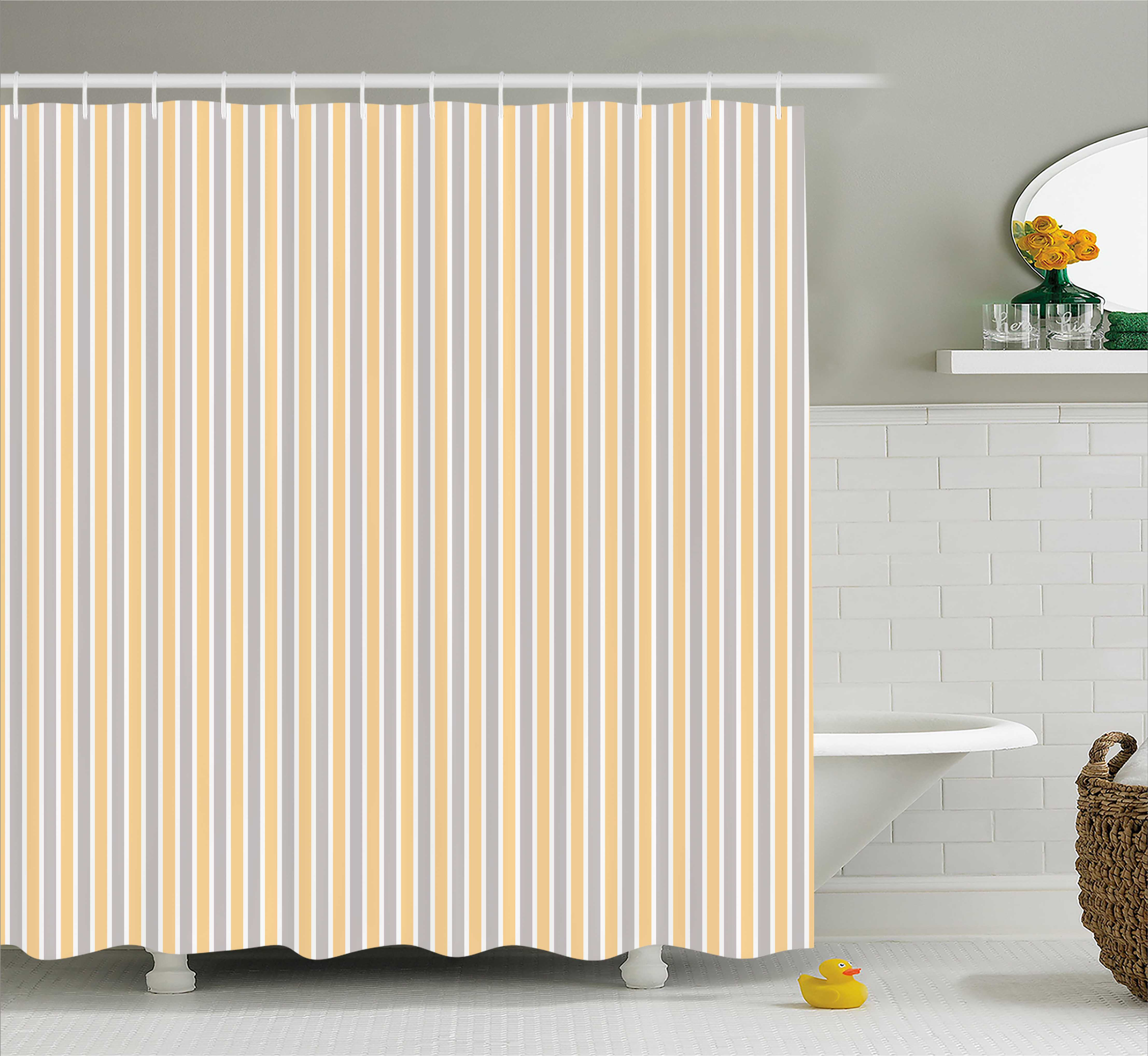 Vintage Shower Curtain Blue And White Vertical Stripes On Orange Background Geometric Pattern Fabric Bathroom Set With Hooks 69w X 84l Inches Extra