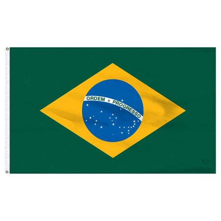 Brazil Flag Polyester 2 ft. x 3 ft., Brass Grommets By (Brazil Flag Car)