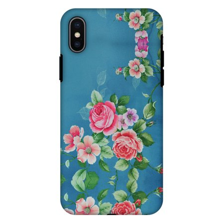 iPhone X Case, Premium Heavy Duty Dual Layer Handcrafted Designer Case ShockProof Protective Cover with Screen Cleaning Kit for iPhone X - Rose Print Provencal, Flexible TPU, Hard Shell