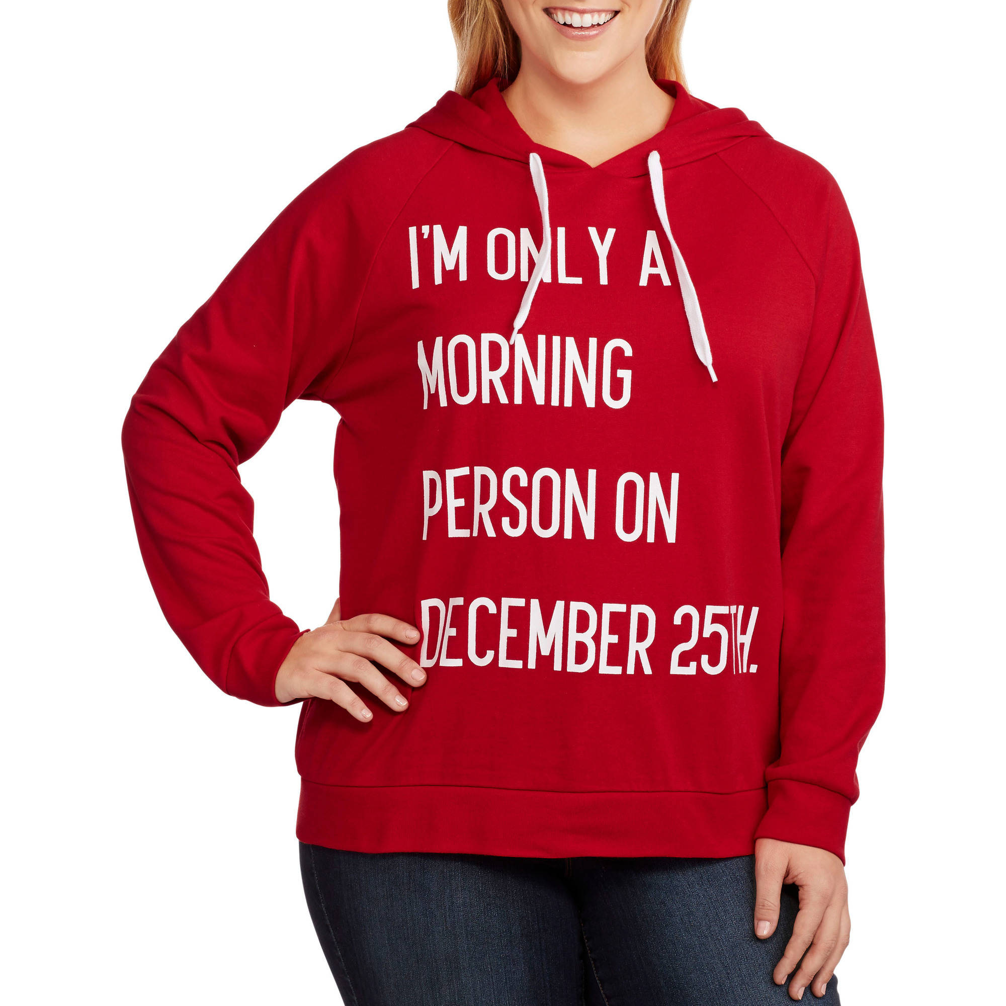 """Women's Plus Santa """"I'm Only a Morning Person on Dec 25th"""" Christmas Fleece Hoodie"""