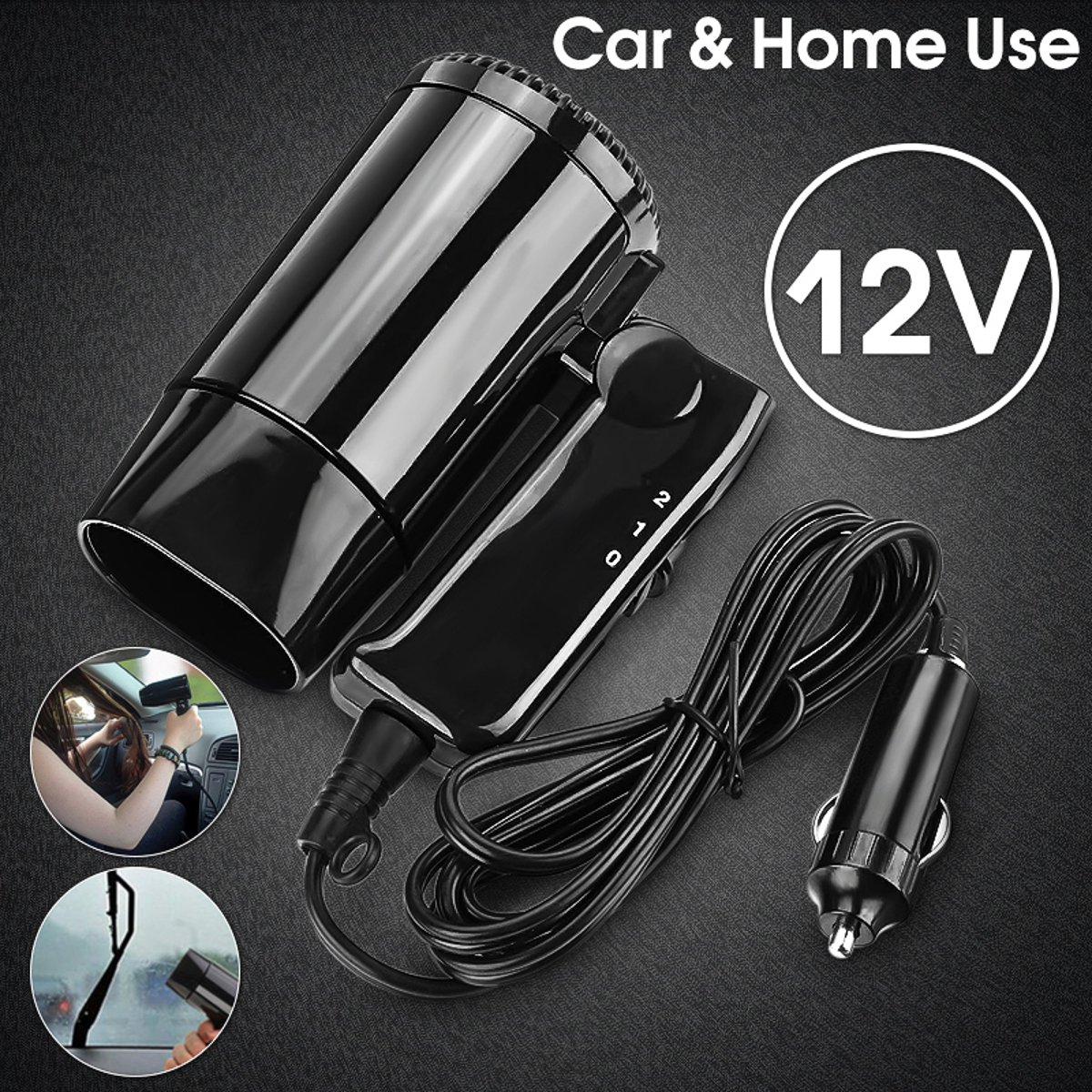 12V 12V Hot & Cold Travel Two Speed Nano Ceramic Car Portable Folding Camping Hair Dryer Window Defroster