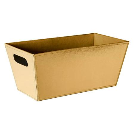 Gold Faux Leather Storage Bin