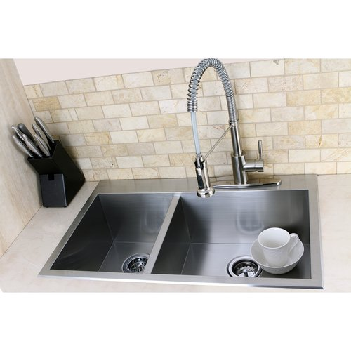 Kingston Brass Uptowne 31.5'' L x 20.5'' W Self-Rimming 60/40 Offset Double Bowl Kitchen Sink