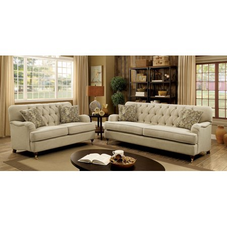 Traditional Classic Living Room Beige Fabric Sofa Loveseat Chair Unique  Tufted Back Legs Solid Wood Couch 3pc Sofa Set
