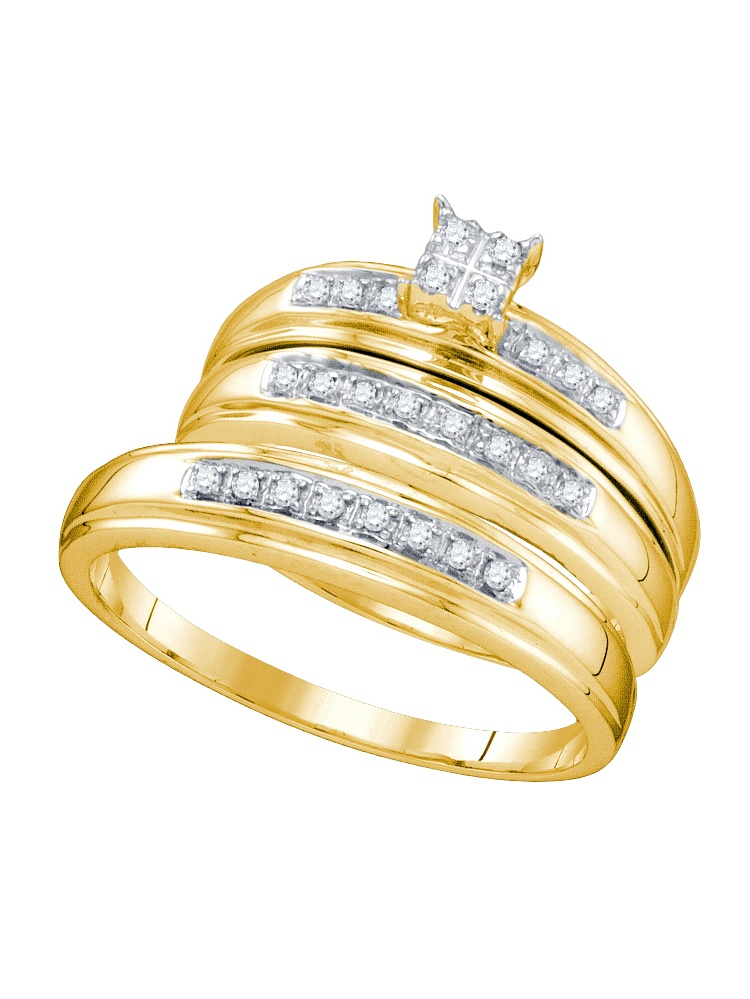 10k Yellow Gold Diamond Cluster Womens Mens His Hers Matching Trio Wedding Bridal Ring Set (.20 cttw.) size- 9.5 by