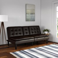 Mainstays Memory Foam Pillowtop Futon with Cupholder, Dark Brown Faux Leather