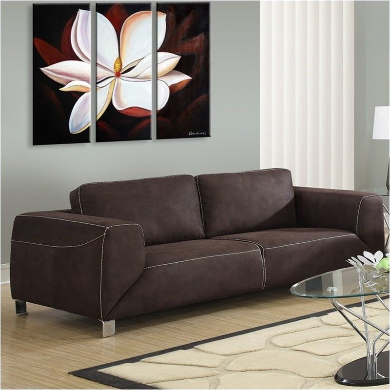 Bowery Hill Contrast Micro Suede Sofa in Chocolate Brown