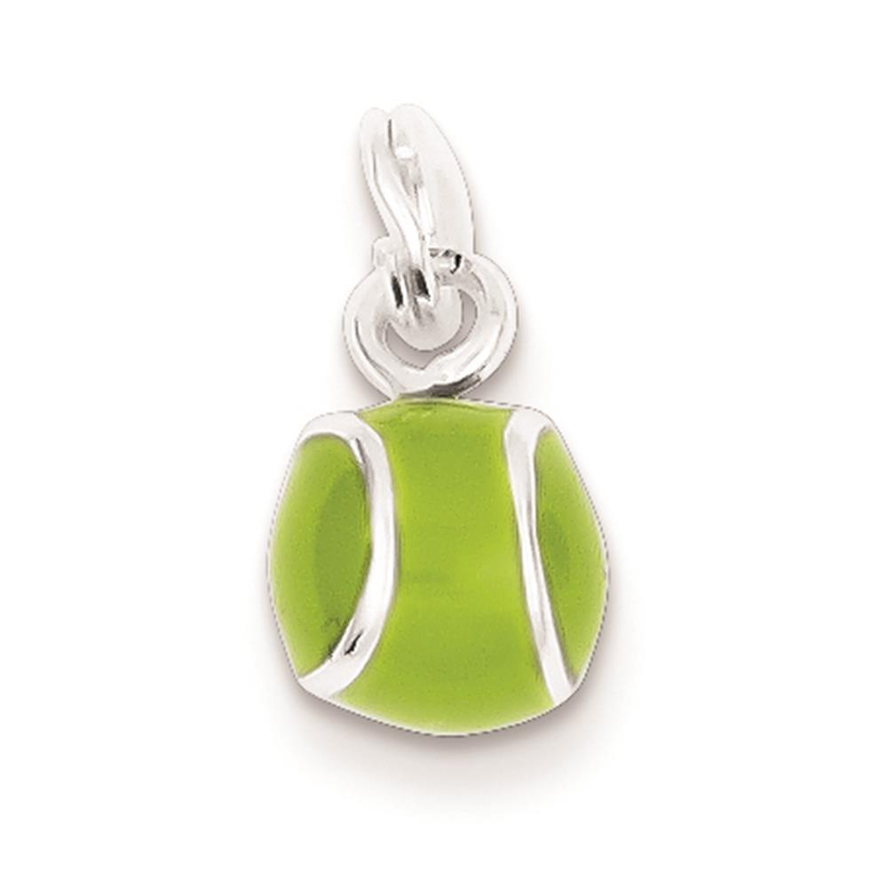 Sterling Silver Green Enameled Tennis Ball Polished Charm Pendant 15mmx8mm