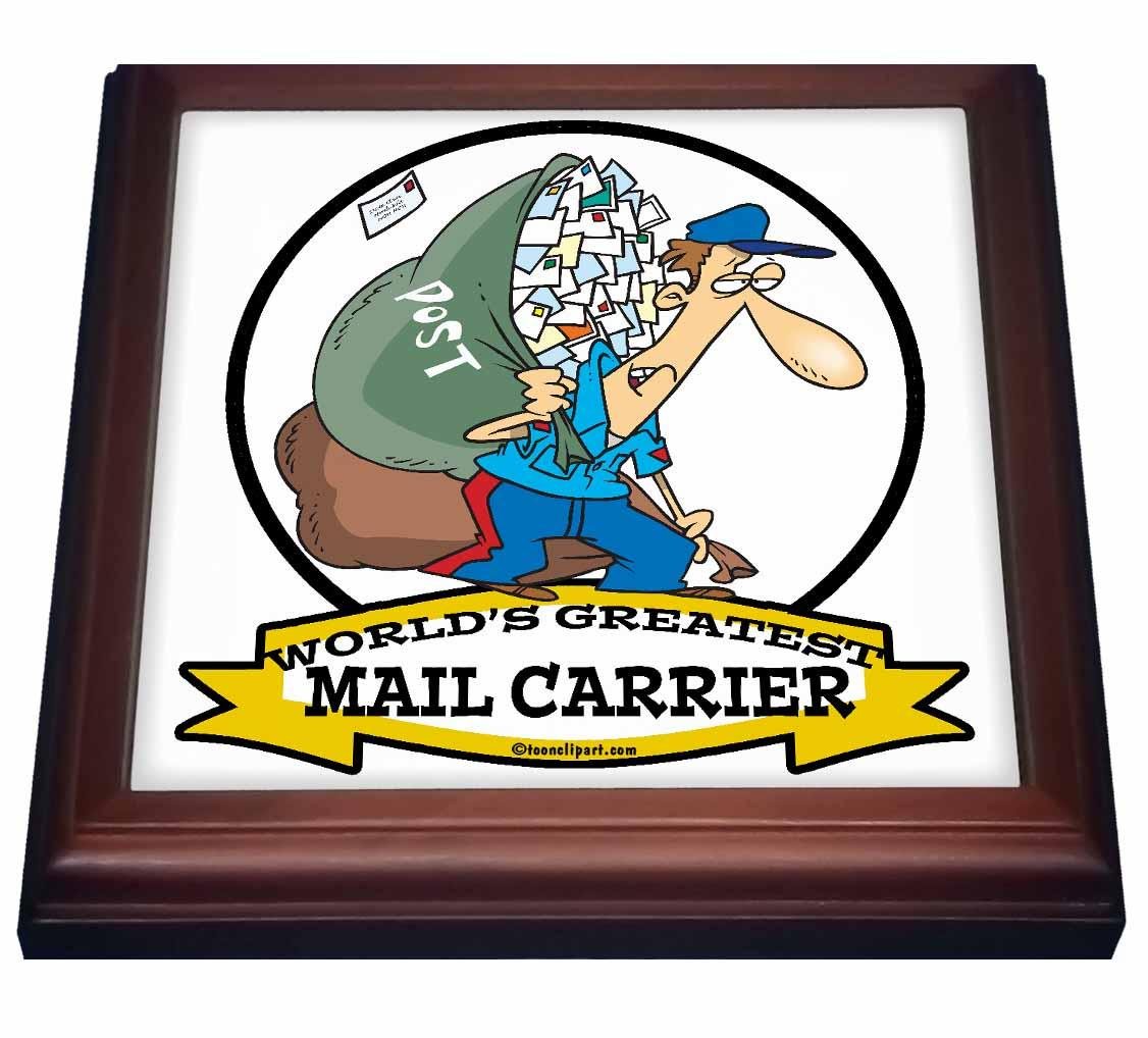 3dRose Funny Worlds Greatest Mail Carrier Cartoon, Trivet with Ceramic Tile, 8 by 8-inch
