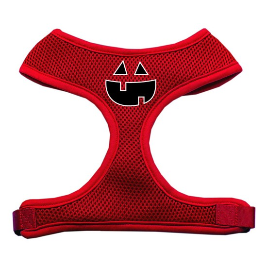 Pumpkin Face Design Soft Mesh Harnesses Red Small