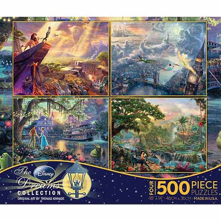 Blue Puzzle Piece Pin (Ceaco 4-Pack Kinkade Disney Dreams Puzzles, 500 pieces)