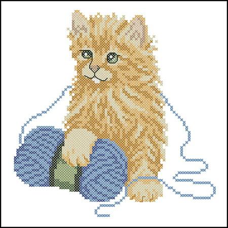 Playful Kitten Quilt Blocks Stamped Cross-Stitch