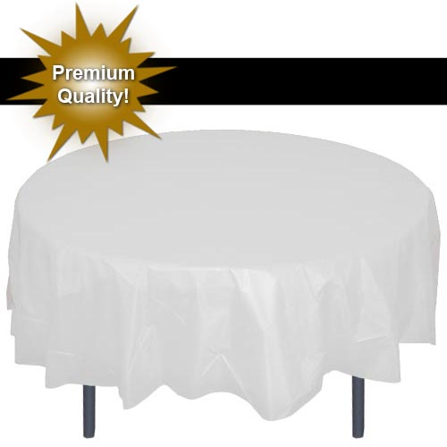 225 & Exquisite 12 Pack 84\u201d Round Tablecloth Covers Bulk - White Disposable Plastic Tablecloths - Heavy Duty Premium Plastic Disposable Table Cloths Round